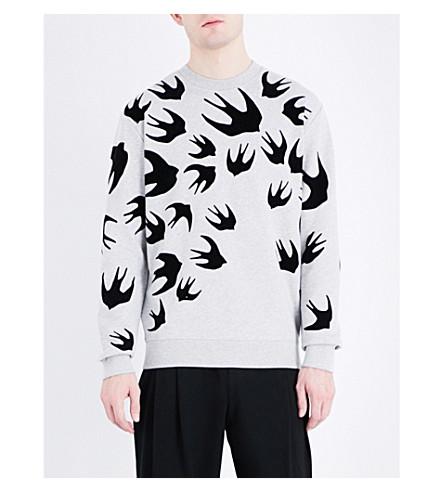 MCQ ALEXANDER MCQUEEN Swallow-print sweatshirt (Mercury+melange