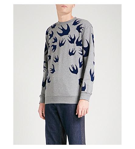 MCQ ALEXANDER MCQUEEN Swallow-print cotton-jersey sweatshirt (Stone+melange+ink