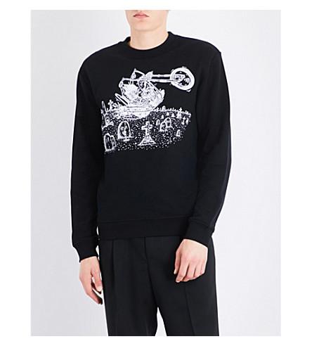 MCQ ALEXANDER MCQUEEN Graveyard-print cotton-jersey sweatshirt (Darkest+black