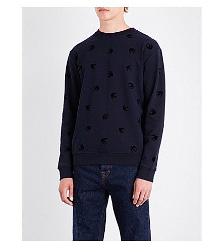 MCQ ALEXANDER MCQUEEN Swallow cotton-jersey sweatshirt (Ink+dark+black