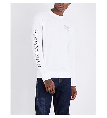 MCQ ALEXANDER MCQUEEN Text-detail cotton-jersey sweatshirt (Optic+white