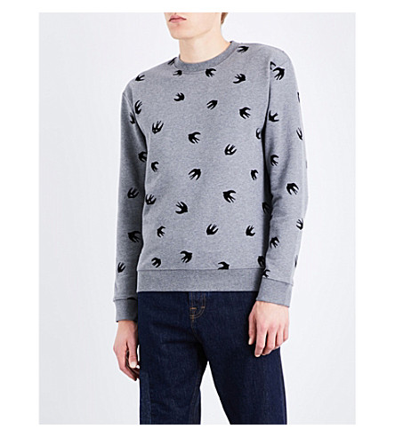 MCQ ALEXANDER MCQUEEN Swallow-pattern cotton-jersey sweatshirt (Stone+grey+melange