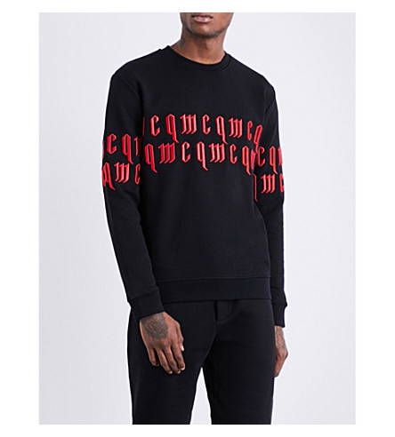 MCQ ALEXANDER MCQUEEN Gothic-text cotton sweatshirt (Black+red