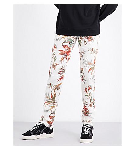 MCQ ALEXANDER MCQUEEN Floral-print mid-rise stretch-cotton trousers (Parchment