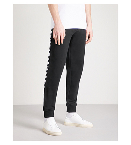 MCQ ALEXANDER MCQUEEN Logo-embroidered cotton-jersey jogging bottoms (Darkest+black