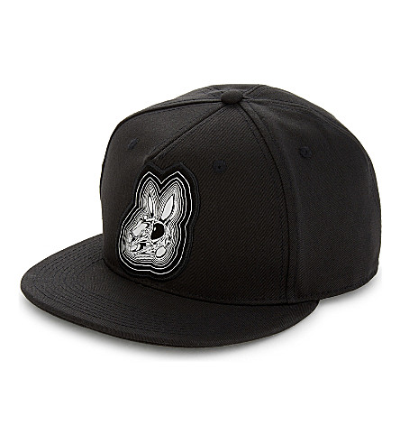 MCQ ALEXANDER MCQUEEN Bunny cotton snapback cap (Darkest+black