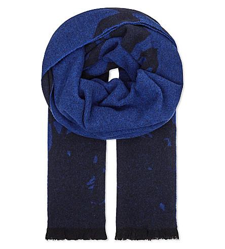 MCQ ALEXANDER MCQUEEN Swallow degrade wool-blend scarf (Biro+blue