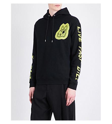 MCQ ALEXANDER MCQUEEN Bunny-print cotton-jersey hoody (Dk+black+lime