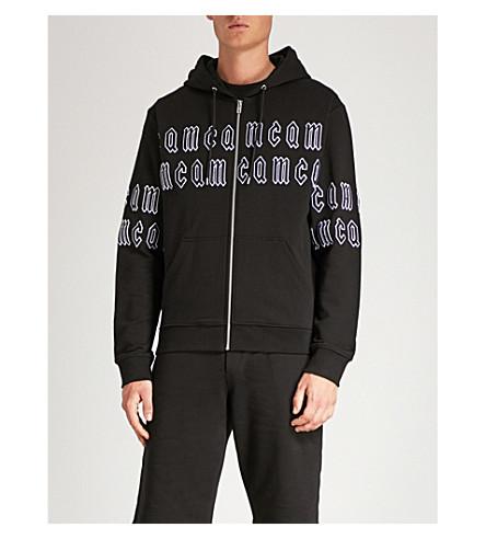 MCQ ALEXANDER MCQUEEN Logo-embroidered cotton-jersey hoody (Darkest+black
