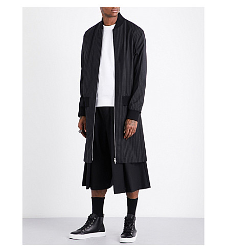 MCQ ALEXANDER MCQUEEN Striped pleated-panel woven coat (Darkest+black