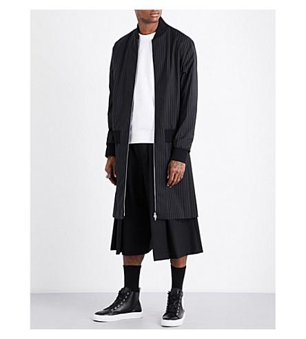 MCQ ALEXANDER MCQUEEN Striped pleated-panel woven coat (Darkest+black