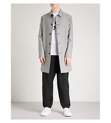 MCQ ALEXANDER MCQUEEN Abstract houndstooth-patterned cotton-blend car coat (Darkest+black