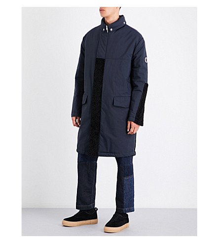 MCQ ALEXANDER MCQUEEN Faux-fur trim hooded quilted shell coat (Deep+navy