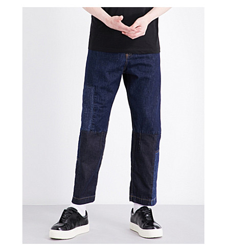 MCQ ALEXANDER MCQUEEN Recycled straight mid-rise jeans (Patchwork+denim