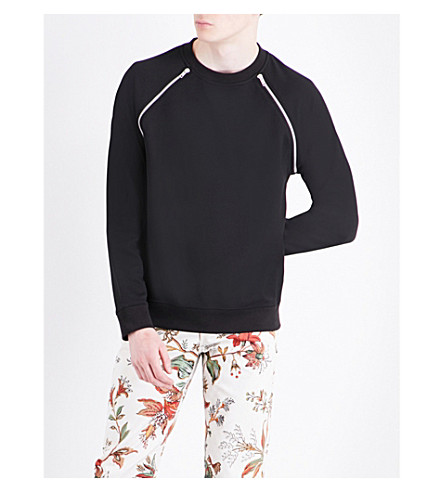 MCQ ALEXANDER MCQUEEN Zip-detail cotton-jersey sweatshirt (Darkest+black
