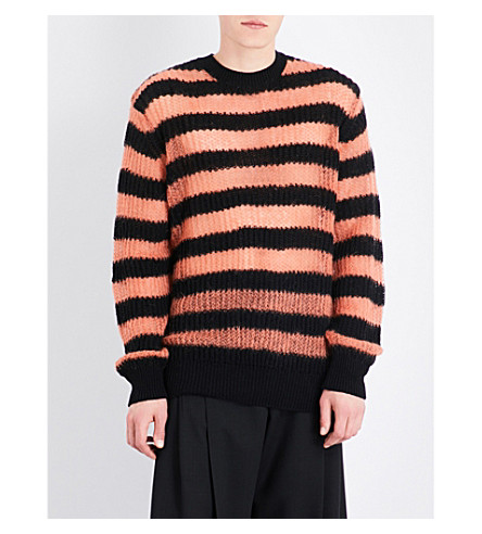 MCQ ALEXANDER MCQUEEN Striped wool-blend jumper (Black+copper