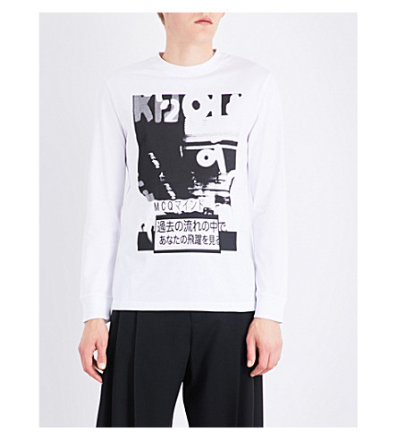 MCQ ALEXANDER MCQUEEN Graphic-print cotton top (Optic+white