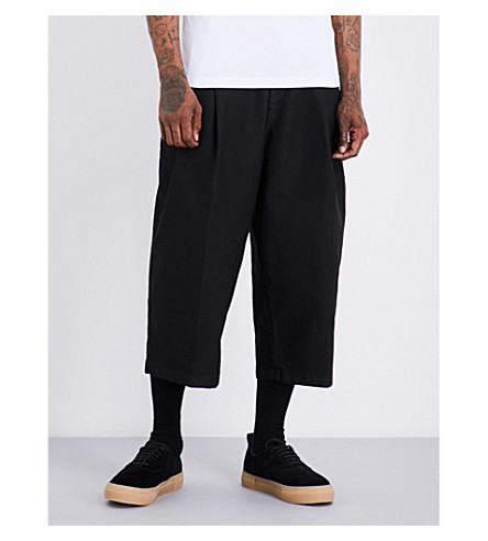 MCQ ALEXANDER MCQUEEN Relaxed-fit wide-leg cotton-blend trousers (Darkest+black