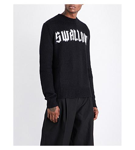 MCQ ALEXANDER MCQUEEN Swallow-intarsia wool and cashmere-blend jumper (Darkest+black