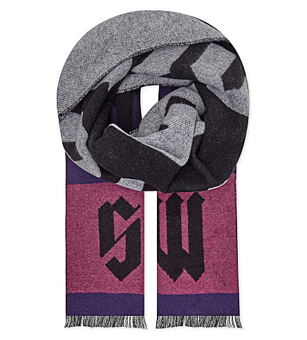 MCQ ALEXANDER MCQUEEN Swallow print wool-blend scarf (Multi+swallow