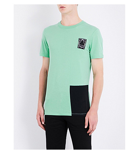 MCQ ALEXANDER MCQUEEN Colour block cotton-jersey T-shirt (Chloride
