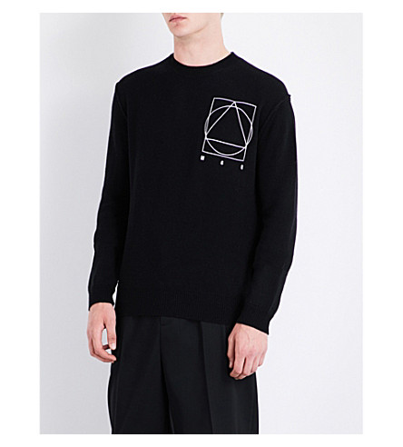MCQ ALEXANDER MCQUEEN Icon logo-print wool and cashmere-blend jumper (Darkest+black