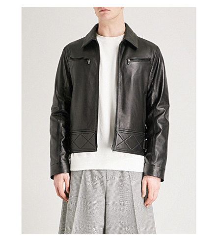 MCQ ALEXANDER MCQUEEN Bondage leather biker jacket (Darkest+black