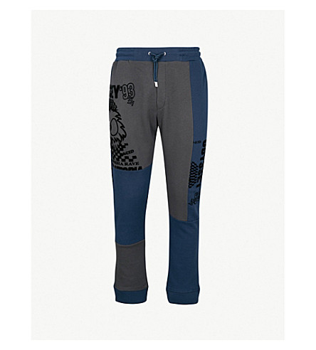 MCQ ALEXANDER MCQUEEN Patchwork straight jersey jogging bottoms (Washed+petrol+slate