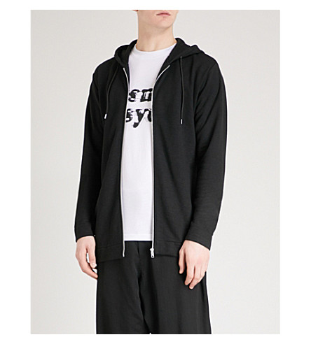 MCQ ALEXANDER MCQUEEN Bondage strap-detail jersey hoody (Washed+black