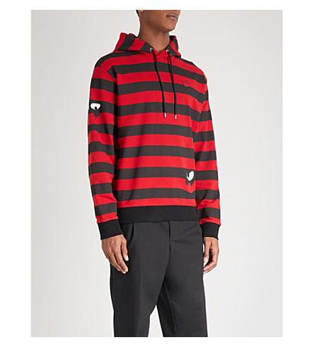 MCQ ALEXANDER MCQUEEN Monster Stripe cotton-jersey hoody (Striped+black+red
