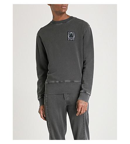 MCQ ALEXANDER MCQUEEN Distressed cotton-jersey sweatshirt (Darkest+black