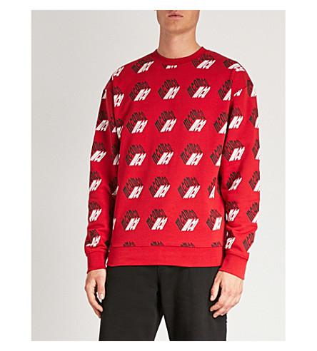 MCQ ALEXANDER MCQUEEN Cube logo-print cotton-jersey sweatshirt (Amp+red