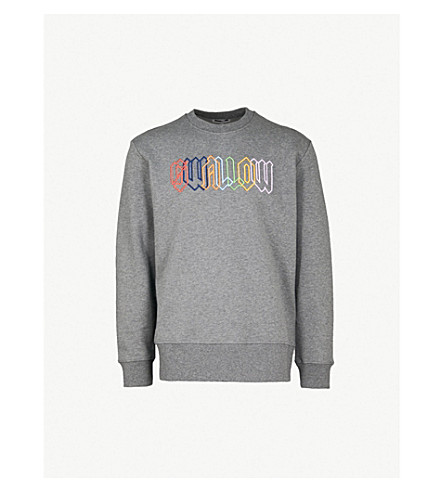 MCQ ALEXANDER MCQUEEN Logo-embroidered cotton-jersey sweatshirt (Stone+grey+melange