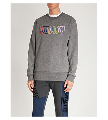 MCQ ALEXANDER MCQUEEN Logo-embroidered cotton-jersey sweatshirt (Stone+grey+melange