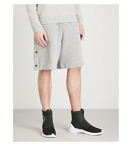 MCQ ALEXANDER MCQUEEN Press-stud cotton-jersey shorts (Grey+melange