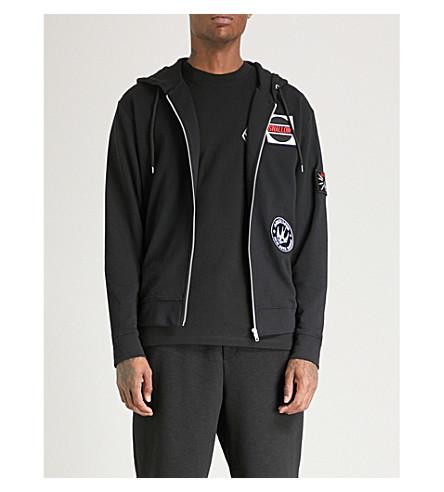 black MCQ ALEXANDER Patch hoody Darkest MCQUEEN cotton jersey detail r84BqO8nwf
