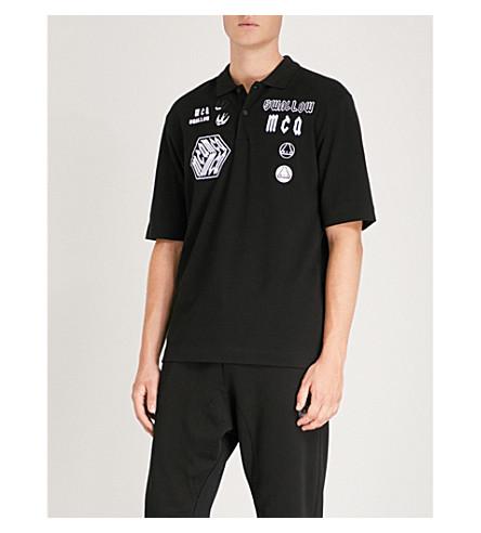 MCQ ALEXANDER MCQUEEN Appliquéd cotton-piqué polo shirt (Darkest+black
