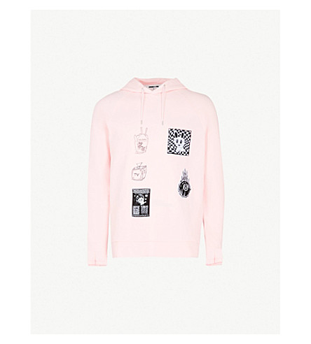 MCQ ALEXANDER MCQUEEN Badge Twisted cotton-jersey hoody (Post+it+pink