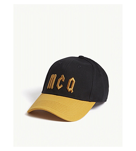 MCQ ALEXANDER MCQUEEN Logo cotton baseball cap (Black+gold+yellow