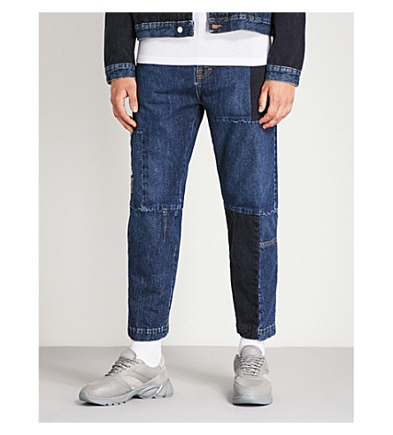 MCQ ALEXANDER MCQUEEN Patchwork regular-fit cropped jeans (American+blue