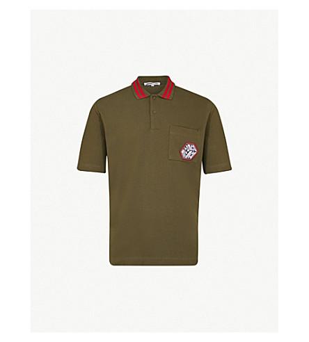 MCQ ALEXANDER MCQUEEN Appliquéd 棉质珠地布 Polo 衫 (军用 + 卡其色)