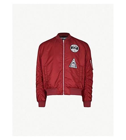 MCQ ALEXANDER MCQUEEN Badge shell bomber jacket (Cherry+red