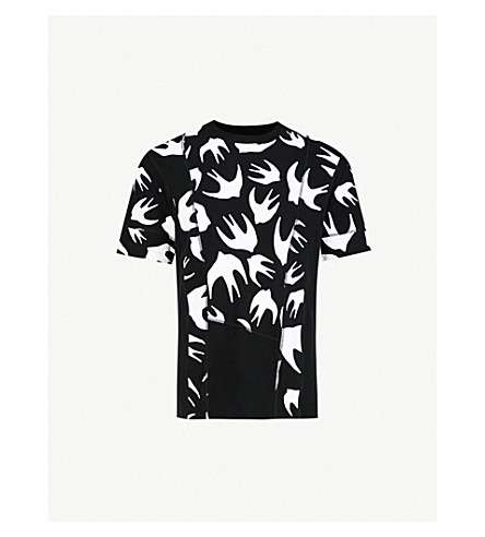 MCQ ALEXANDER MCQUEEN Inverted swallow-print cotton-jersey T-shirt (Black