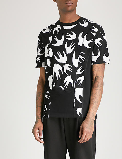 MCQ ALEXANDER MCQUEEN Inverted swallow-print cotton-jersey T-shirt