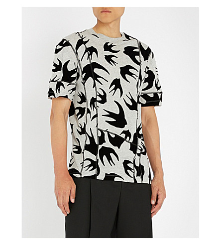 MCQ ALEXANDER MCQUEEN Inverted swallow-print cotton-jersey T-shirt Mercury melange Discount Eastbay Outlet Cheap Authentic Cheap Get Authentic Official Site Sale Online Shop For Sale Qu7VIY