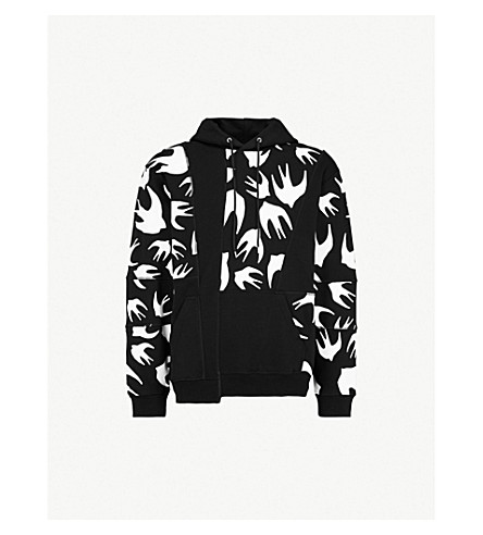 MCQ ALEXANDER MCQUEEN Inverted swallow-print cotton-jersey hoody (Black