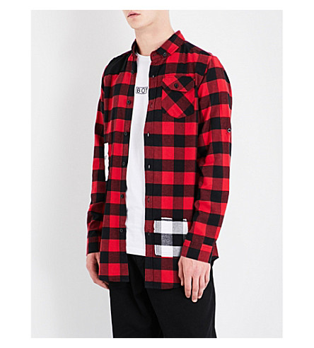 BOY LONDON 1976 checked regular-fit cotton-flannel shirt (Black+red
