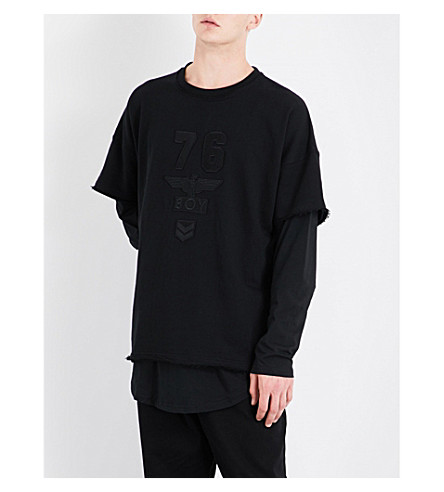 BOY LONDON Army Layered cotton-jersey sweatshirt (Black