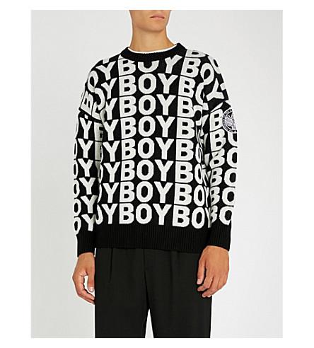 BOY LONDON 徽标打印羊毛混纺毛衣 (黑色