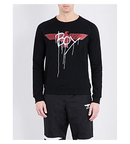 BOY LONDON Eagle-print cotton-jersey sweatshirt (Black+red